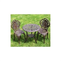 Oakland Living American Eagle 3 Piece Bistro Set in Antique Bronze