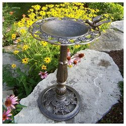 Oakland Living Antique Bronze Rose Birdbath