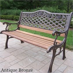Oakland Living Tea Rose Cast Iron Bench in Antique Bronze