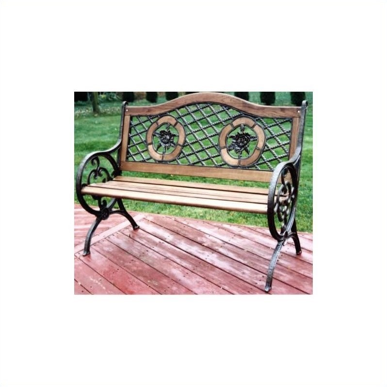Oakland Living Twin Rose Bench with Round Legs in Antique Bronze
