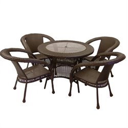 Oakland Living Elite 5 Piece Wicker Patio Dining Set in Coffee