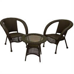 Oakland Living Resin Wicker 3 Piece Set in Coffee