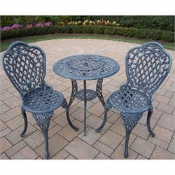 Oakland Living Mississippi Cast Aluminium 3 Piece Bistro Set in Verdi Gray