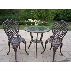Oakland Living Mississippi Cast Aluminium 3 Piece Glass Top Bistro Set