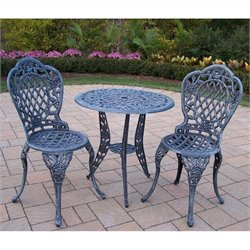 Oakland Living Tea Rose Cast Aluminum 3 Piece Bistro Set in Verdi Grey