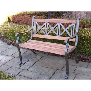 Oakland Living Triple Cross Bench in Antique Bronze