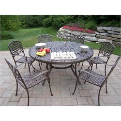 Oakland Living 7 Piece Metal Patio Dining Set in Antique Bronze