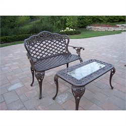 Oakland Living Tea Rose Cast Aluminium 2 Piece Loveseat Set in Antique Bronze