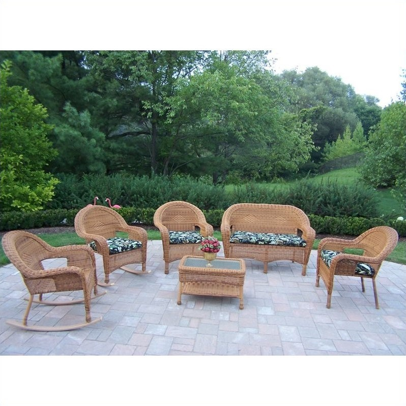 Resin Wicker 6 Piece Patio Set with Cushions in Natural