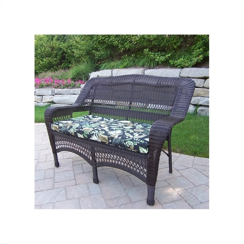 Oakland Living Resin Wicker Aluminum Frame Loveseat with Cushion in Coffee