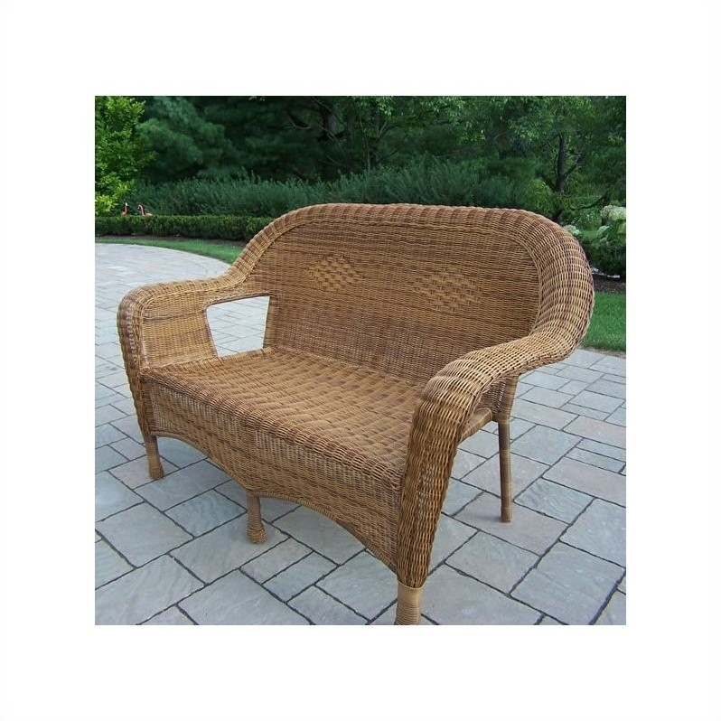 Oakland Living Resin Wicker Loveseat in Natural