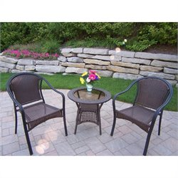 Oakland Living Tuscany Resin Wicker 3 Piece Set in Coffee