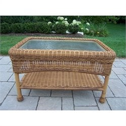 Oakland Living Resin Wicker Coffee Table in Natural