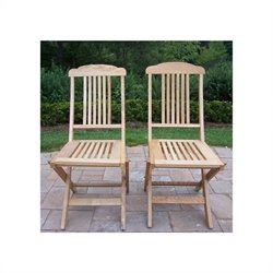 Oakland Living Folding Event Wooden Chairs in Natural (Set of 2)