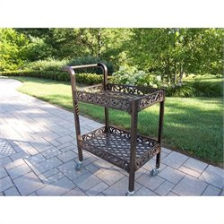 Oakland Living Mississippi Cast Aluminum Service Cart in Antique Bronze