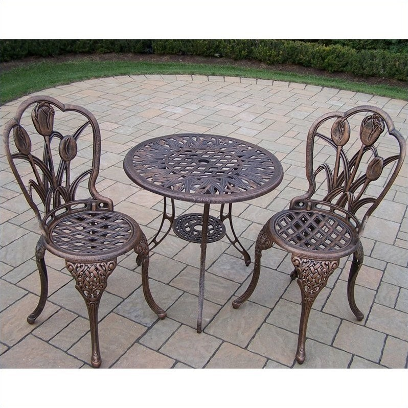 Oakland Living Tulip Cast Aluminum 3 Piece Bistro Set in Antique Bronze