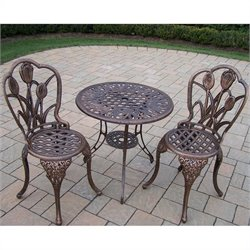 Oakland Living Tulip Cast Aluminum 3 Piece Bistro Set