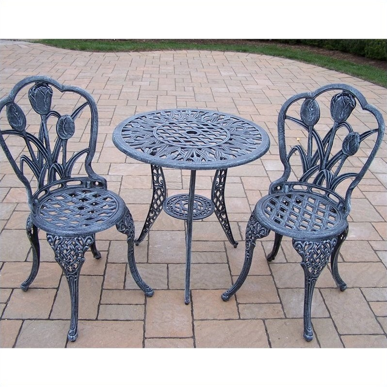 Oakland Living Tulip Cast Aluminum 3 Piece Bistro Set in Verdi Grey