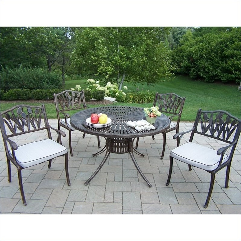 Oakland Living Sunray 5 Piece Metal Patio Dining Set in Antique Bronze
