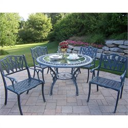 Oakland Living 5 Piece Metal Patio Dining Set in Gray