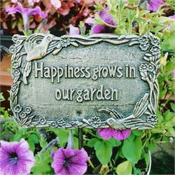 Oakland Living Garden Marker Happiness Grows In Our Garden in Antique Bronze