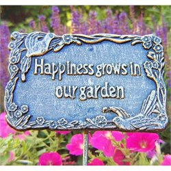 Oakland Living Garden Marker Happiness Grows In Our Garden in Antique Pewter