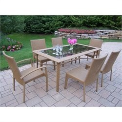 Oakland Living Sun Shade 7 Piece Metal Patio Dining Set in Natural