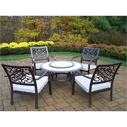 Oakland Living Tacoma Stone 6 Piece Metal Patio Dining Set in Bronze
