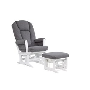 Dutailier Glider and Ottoman Set in Dark Gray and White