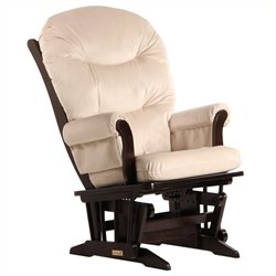 ULTRAMOTION by Dutailier Sleigh Glider in Espresso and Light Beige Fabric