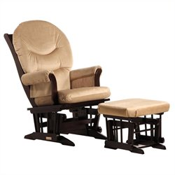 ULTRAMOTION by Dutailier Sleigh Glider and Ottoman Set in Espresso and Light Brown