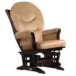 ULTRAMOTION by Dutailier Sleigh Glider in Espresso and Light Brown Fabric