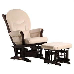 Dutailier Sleigh Glider and Ottoman Set in Espresso and Light Beige