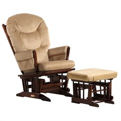 ULTRAMOTION by Dutailier 2 Post Glider and Ottoman Set in Coffee and Light Brown