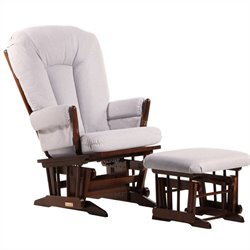 ULTRAMOTION by Dutailier 2 Post Glider and Ottoman Set in Coffee and Light Grey