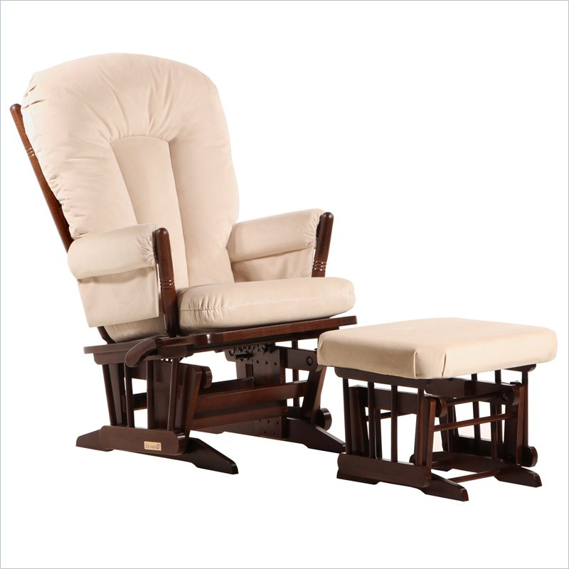 2 Post Glider and Ottoman Set in Coffee and Light Beige