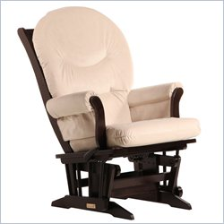 Dutailier Sleigh Glider/Recliner/Multiposition in Espresso and Light Beige
