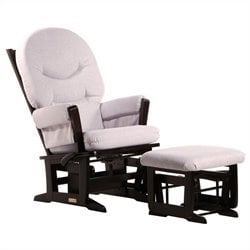 ULTRAMOTION by Dutailier Modern Glider and Ottoman Set in Espresso and Light Grey