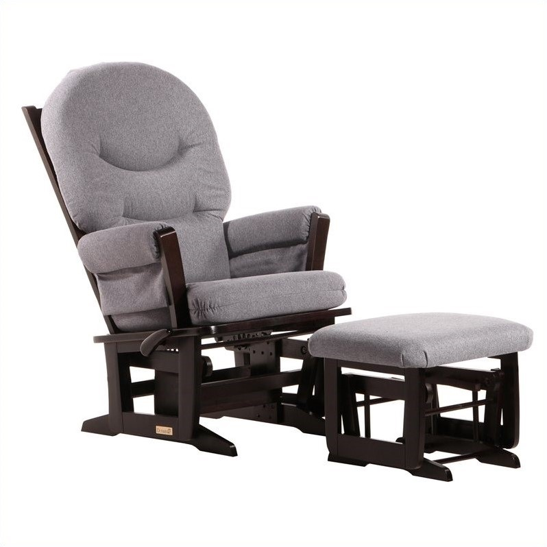 Dutailier Modern Glider and Ottoman Set in Espresso and Dark Gray - Dutailier Modern Glider And Ottoman Set In Espresso And Dark Gray