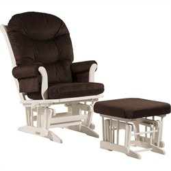 ULTRAMOTION by Dutailier Sleigh GliderReclinerMultiposition and Nursing Ottoman Set in Chocolate