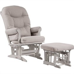 Dutailier Sleigh Glider/Recliner/Multiposition and Nursing Ottoman Set in Light Grey