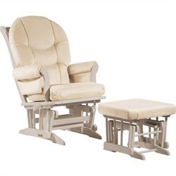 Dutailier Sleigh Glider/Recliner/Multiposition and Nursing Ottoman Set in Light Beige
