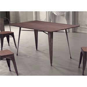 ZUO Titus Rectangul Dining Table in Rustic Wood