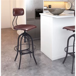 ZUO Gering Adjustable Bar Stool in Burgundy and Antique Black