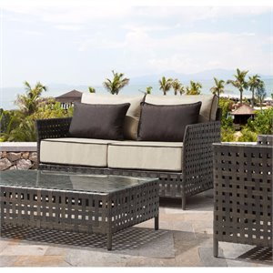 ZUO Pinery Outdoor Sofa in Brown and Beige