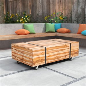 ZUO River Patio Coffee Table in Brushed Teak