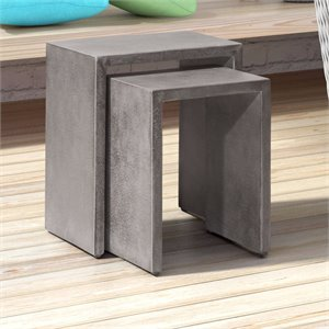 ZUO Mom 2 Piece Patio Nesting End Table Set in Cement