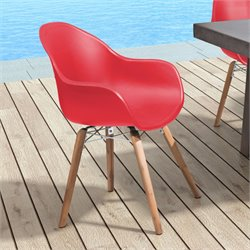 ZUO Tidal Patio Dining Chair in Red (Set of 4)