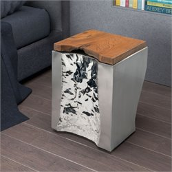 ZUO Luxe End Table in Natural and Stainless Steel