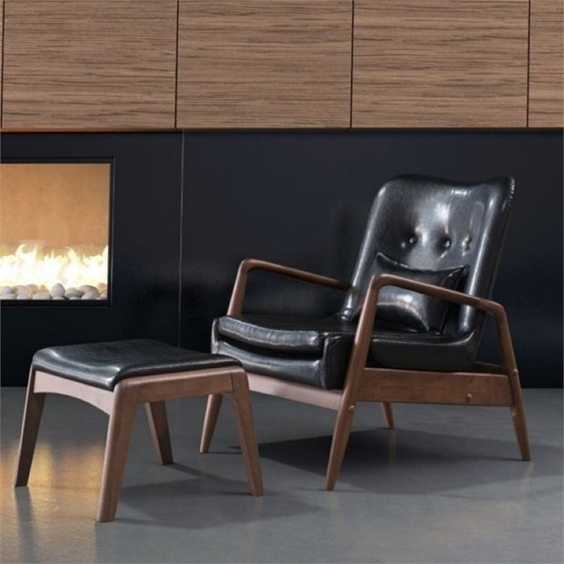 Beautiful ZUO Bully Faux Leather Lounge Chair And Ottoman In Black